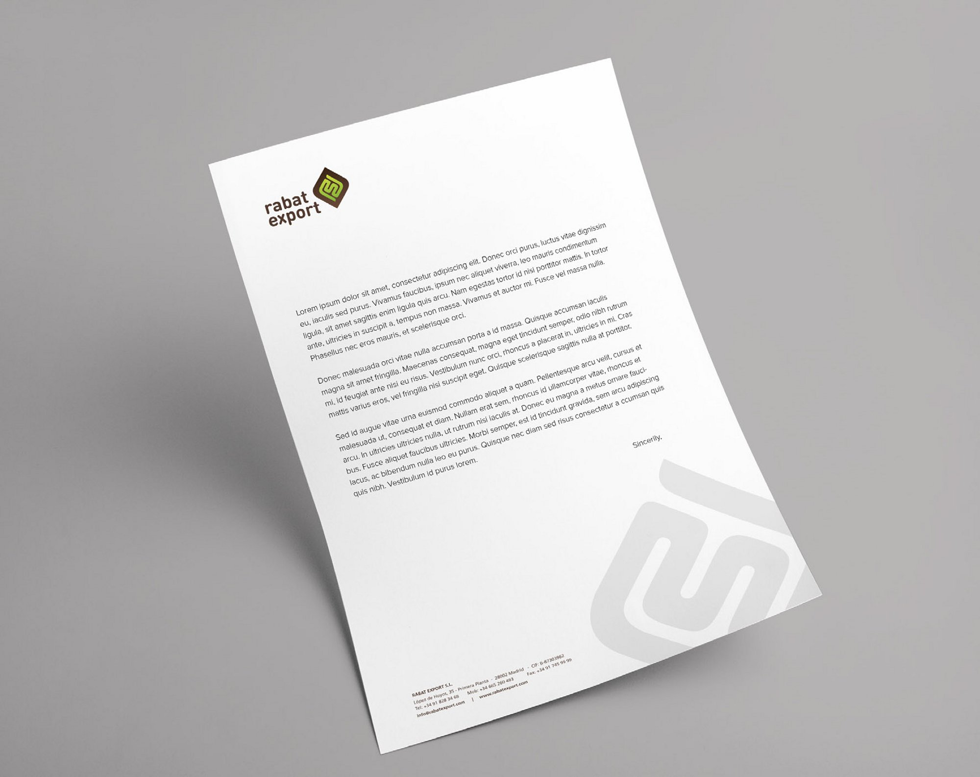 Rabat Export Letter Design